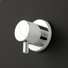 Built-in stop valve with lever handle and round backplate: