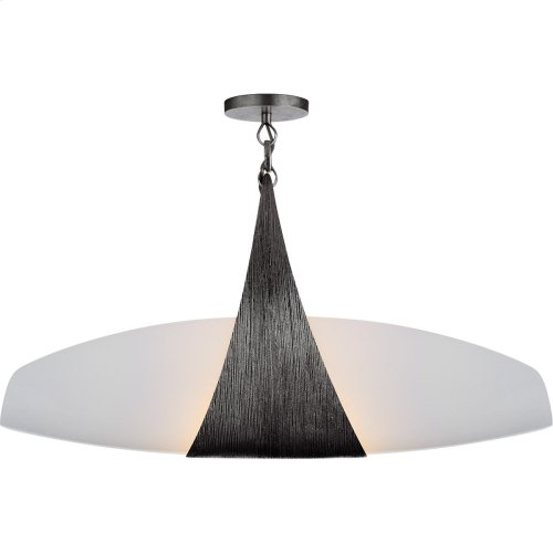 Visual Comfort KW5553AI-WG Kelly Wearstler Utopia 2 Light 28 inch Aged Iron Linear Pendant Ceiling Light, Kelly Wearstler, Small, Banded, White Glass