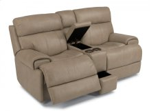 Margot Leather Power Reclining Loveseat with Console