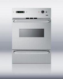 """Stainless steel 220V electric wall oven with oven window, digital clock/timer and pro handles; for cutouts 22 3/8"""" wide by 34 1/8"""" high"""