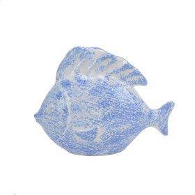"Light Blue/white Ceramic Fish8"""