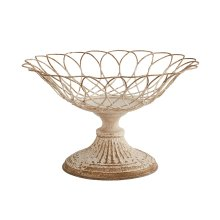 Distressed White Small Aged Wire Footed Urn