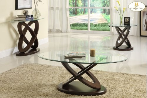1 cocktail 2 end Table with Glass Top