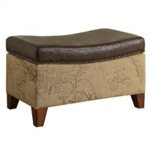 Storage Ottoman in Map Jute Fabric with Vintage Brown Bonded Trim