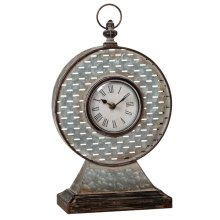Round Galvanized Slot Mantel Clock