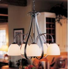 Chandelier: Sweeping Taper with five down lights and glass options.