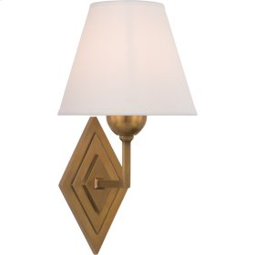 Visual Comfort AH2050NB-PL Alexa Hampton Bettina 8 inch Natural Brass Sconce Wall Light, Alexa Hampton, Natural Percale Shade
