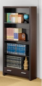 - Four-shelf bookcase finished in cappuccino- Constructed with MDF, particleboard, and engineered veneer- Features single drawer with Euro glides- Pair with computer desks (#800891) and (#800901) Product Image