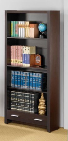 - Four-shelf bookcase finished in cappuccino- Constructed with MDF, particleboard, and engineered veneer- Features single drawer with Euro glides- Pair with computer desks (#800891) and (#800901)