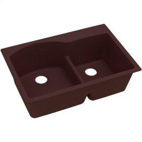 """Elkay Quartz Classic 33"""" x 22"""" x 10"""", Offset 60/40 Double Bowl Top Mount Sink with Aqua Divide, Pecan"""