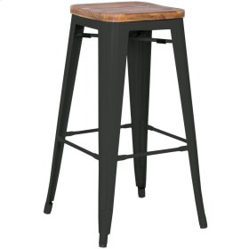 Metropolis Backless Bar Stool Wood Seat, Black