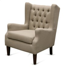 Silk Road Natural Linen Armchair with Tufting  40in X 31in X 30in  Upholstered Chair