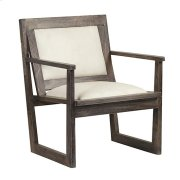 Bengal Manor Charcoal Grey Mango Wood Accent Chair w/ White Leather Product Image