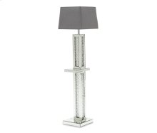 Montreal Mirrord Flr Lamp w/Crystl Accnt & Violet Rect Lamp Shade