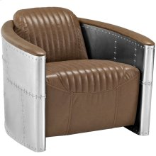 Visibility Upholstered Vinyl Lounge Chair in Brown