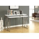 "ACCENT TABLE - 46""L /2PCS SET/ GLOSSY WHITE/ CHROME METAL Product Image"