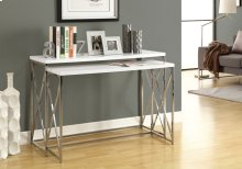 ACCENT TABLE - 2PCS SET / GLOSSY WHITE CHROME METAL