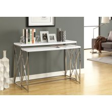 "ACCENT TABLE - 46""L /2PCS SET/ GLOSSY WHITE/ CHROME METAL"
