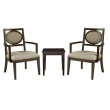 """3-Pc. Set - 2 Oval-Back Accent Chairs with 1 """"Walnut"""" End Table"""