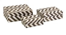Zigzag Bone Inlay Boxes - Set of 3