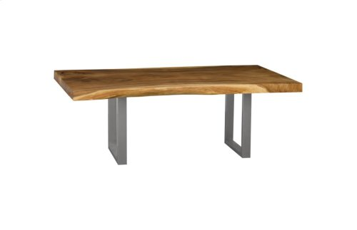 Live Edge Dining Table, Chamcha Wood, Brushed Stainless Steel Legs