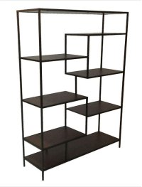 "- Seven shelf bookcase finished in walnut with metal frame finished in black- Constructed with steel, MDF, and engineered veneer- Also available in 31""W (#801134) Product Image"