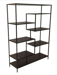 "- Seven shelf bookcase finished in walnut with metal frame finished in black- Constructed with steel, MDF, and engineered veneer- Also available in 31""W (#801134)"