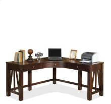 Castlewood Curved Corner Desk Warm Tobacco finish