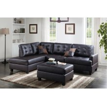 Espresso Reversible Chaise Sectional with Ottoman Included