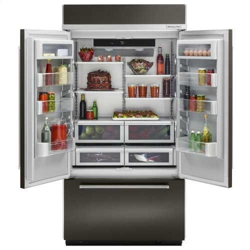"24.2 Cu. Ft. 42"" Width Built-In Stainless French Door Refrigerator with Platinum Interior Design - Black Stainless Steel with PrintShield™ Finish"