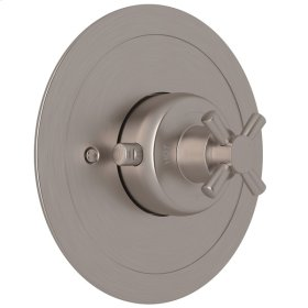 Satin Nickel Perrin & Rowe Holborn Thermostatic Trim Plate Without Volume Control with Holborn Cross Handle