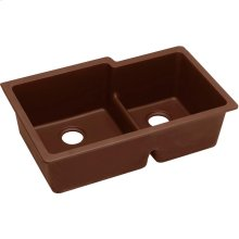 "Elkay Quartz Classic 33"" x 20-1/2"" x 9-1/2"", Offset Double Bowl Undermount Sink with Aqua Divide, Pecan"