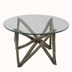 Branch Forest Coffee Table w/ Glass Top, Washed Gray