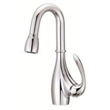 Chrome Bellefluer 1H Pull-Down Bar Faucet w/ Side Mount Handle 2.2gpm