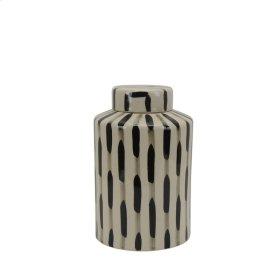 "Ceramic Jar W/ Lid 8.5"", Black/white"