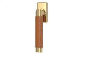 Oval Angle Stitch Out Combination Leather In Tan And Polished Brass