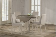 Clarion 5-piece Round Drop Leaf Dining Set With Upholstered Chairs - Sea White