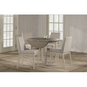 Hillsdale FurnitureClarion 5-piece Round Drop Leaf Dining Set With Upholstered Chairs - Sea White