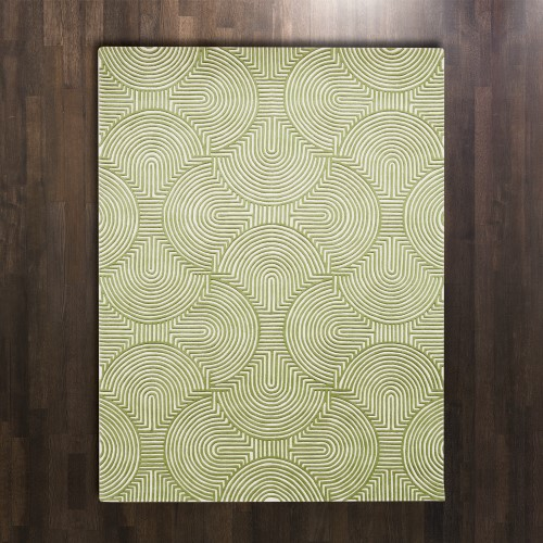 Arches Rug-Green/Ivory-8 x 10