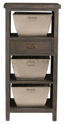 Signature 3 Basket Stand With 1 Drawer - Gray Wirebrush