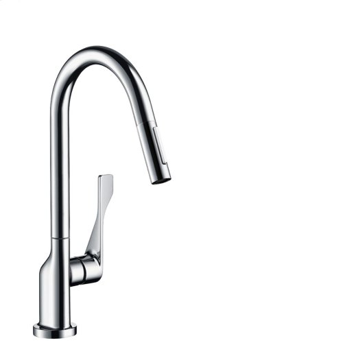 Chrome Single lever kitchen mixer 250 with pull-out spray