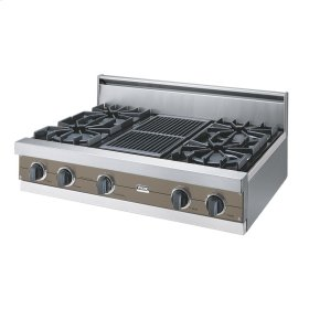 "Stone Gray 36"" Open Burner Rangetop - VGRT (36"" wide, four burners 12"" wide char-grill)"