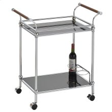 Henry 2-Tier Bar Cart in Chrome & Black