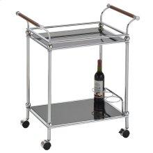 Henry 2-Tier Bar Cart in Chrome & Black