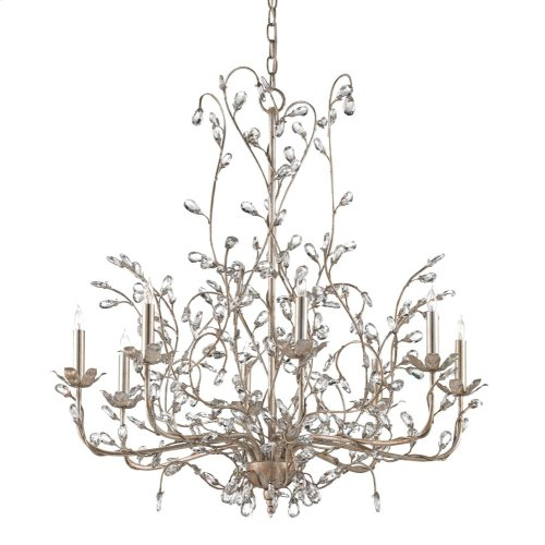 Crystal Bud Silver Large Chandelier