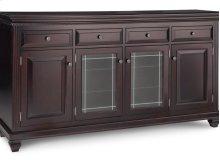 Florentino Sideboard w/2 Wood Doors &2/Center Glass Door &4/Dwrs & 2/Wood & Glass Adjust.