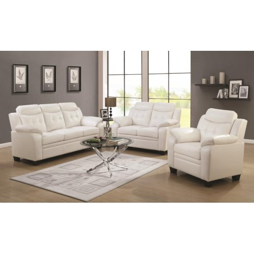 Finley Casual White Three-piece Living Room Set