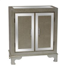 Diamond Silver Crocodile Pattern and Mirror 2 Door Cabinet