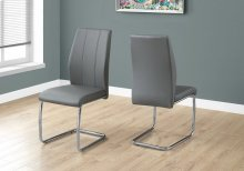 """DINING CHAIR - 2PCS / 39""""H / GREY LEATHER-LOOK / CHROME"""