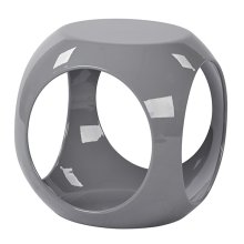 Slick Accent Table With High Gloss Grey Finish & See -through Storage By Ave Six
